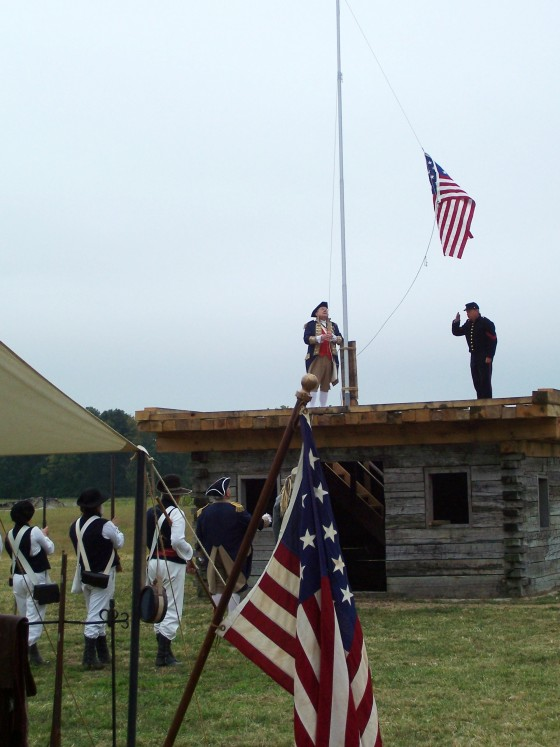 raising flag at Hills Fort